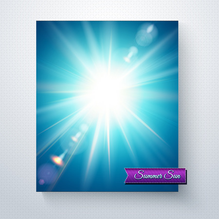 Bright white sunburst in a blue summer sky with sun flare and radiating rays above a purple banner with the text - Summer Sun - in a vector illustration over a grey background