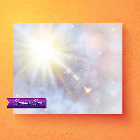 deisgn: Pretty summer card deisgn with an ethereal sunburst in a pastel sky with sparkling bokeh and purple banner with text - Summer Sun - over a graduated orange background, vector illustration