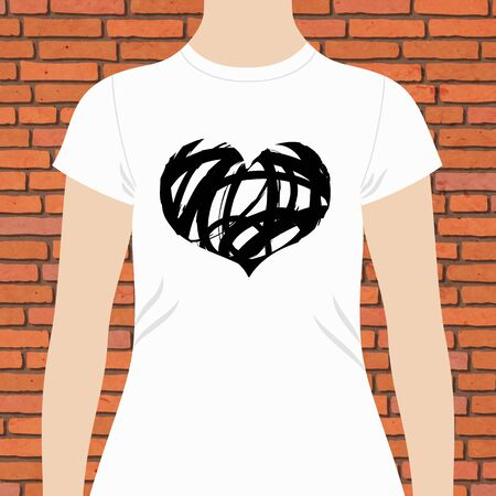 chest wall: T-shirt template design with a black and white vector doodle sketch heart on the chest Illustration