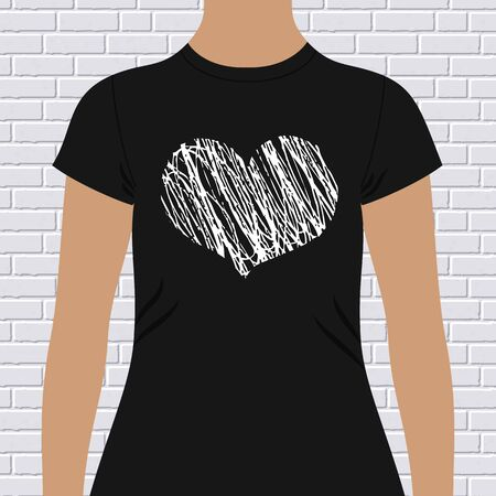 chest wall: Black and white heart on a t-shirt template with a doodle sketch pattern on the chest in a modern youthful look, vector illustration
