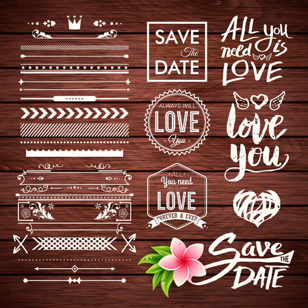 Vector borders, lines, arrows and save the date with all you need is love labels on wooden background Vettoriali