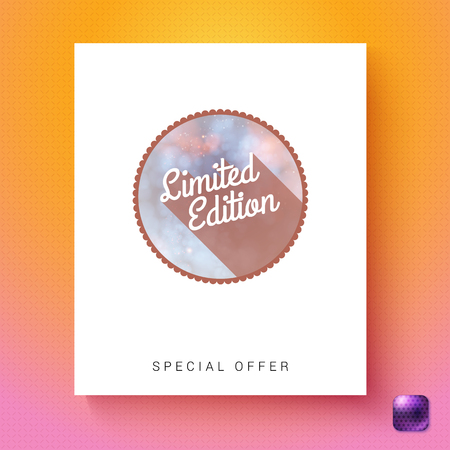 Circular limited edition special offer badge advertising card template in white rectangle over orange and pink gradient with purple gumdrop square button in corner