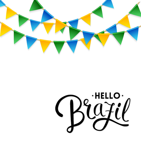 Isolated Hello Brazil text underneath three strings of blue, green and yellow triangular flag decorations Illusztráció