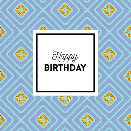 Happy Birthday geometric greeting card design with a repeating bold blue diamond pattern with gold glitter effect and center text in a frame