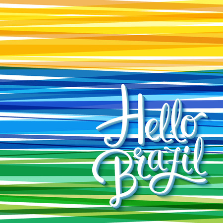 Vibrant Hello Brazil card or poster design template with bands of stripes in yellow, blue and green and handwritten white text with copy space, vector illustration Ilustração