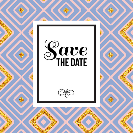 Stylish Save The Date Wedding invitation with central black text and copy space on white on a seamless repeat background pattern of blue and pink diamonds with festive gold accent, vector illustration