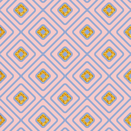 Seamless geometric background diamond pattern with gold glitter accents in pink and blue in square format for print, textiles or wallpaper, vector illustration