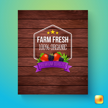 Wood panel finish farm fresh 100 percent organic premium quality sign with blackberries and strawberries above the label
