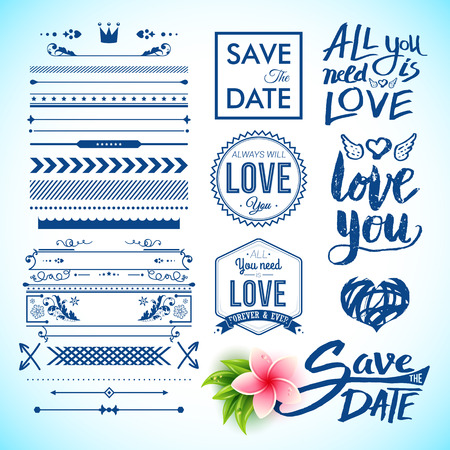 Various save the date and all you need is love labels as graphic icons next to other arrows, borders and lines for clip art