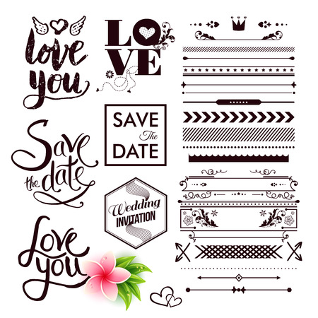 Various save the date and all you need is love labels as graphic icons next to other arrows, borders and lines for clip art over white background Vettoriali