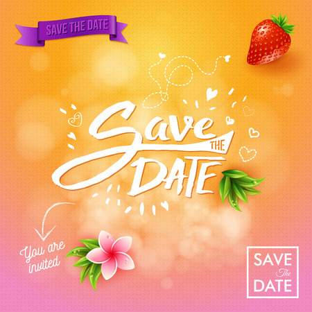 Pretty Save the Date background in pink and orange gradient with flower, leaves, strawberry, hearts and other objects