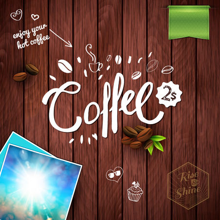 Coffee text, leaves, banners, photograph of the sky and other objects over wood paneling background