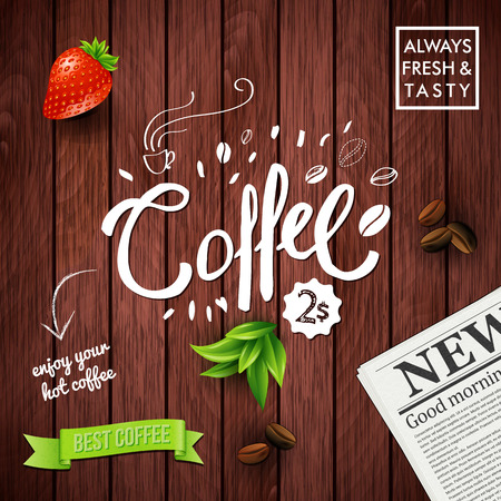 Background with morning coffee concept represented by text, newspaper, fruit banners over wood paneling background