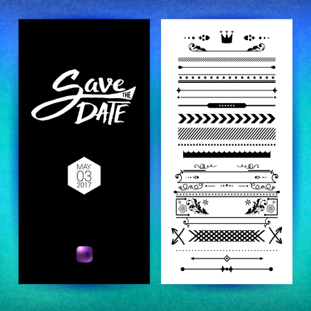Black and white save the date clip art with placeholder text, assorted borders, frames, icons and purple button