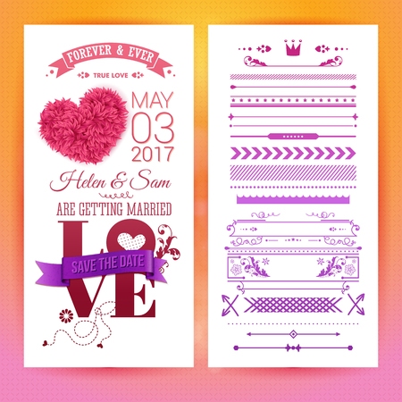 Various getting married love stationery objects with placeholder text, extra icons, frames and borders over orange and pink background