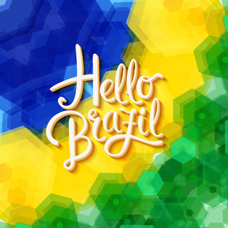 Hello Brazil text over green, yellow and blue obscured faceted polygons for label or greeting card