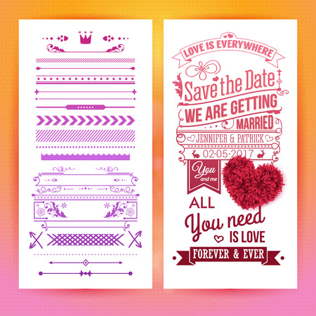 Colorful romantic wedding invitation design with inspirational text and hearts alongside a selection of seamless borders and frames for use as design elements