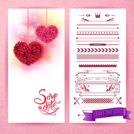 Pink and red fluffy heart decorations over save the date as stationery sheet beside panel of borders and icons