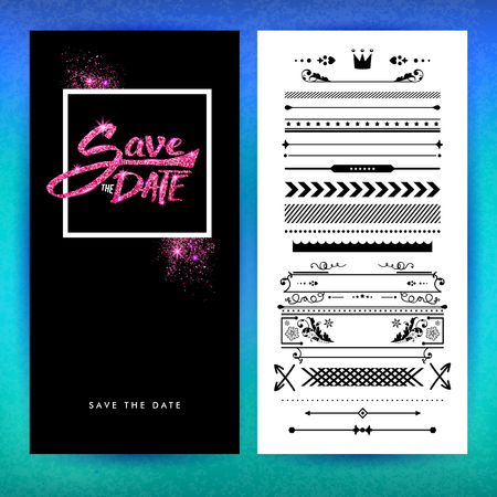 Sparkling pink and black save the date stationery with replacement borders of various shapes over white and blue gradient background