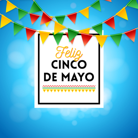 Poster elements for Fifth of May Mexican holiday celebration and various colored flags over blue and white obscured gradient background Ilustracja