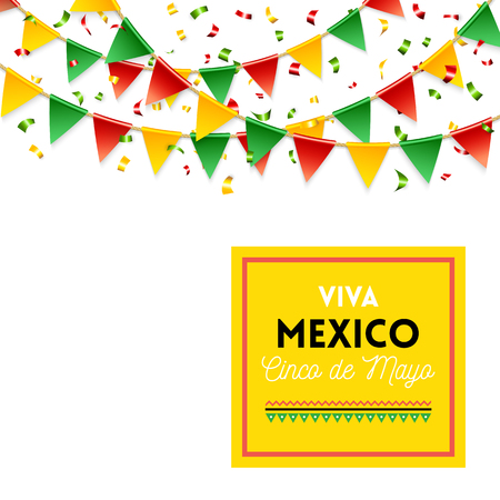 Isolated strings of colorful flags and banner for Cinco de Mayo celebration over white background Ilustração