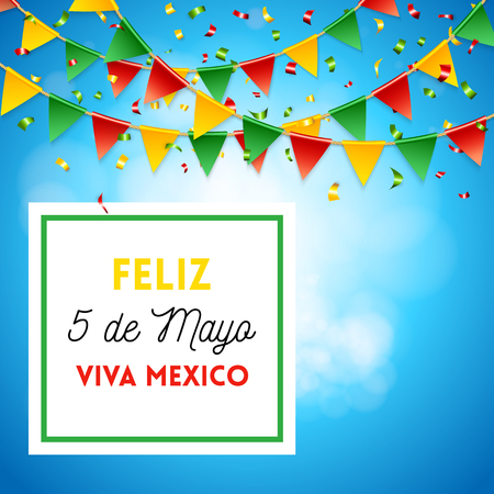 Poster elements with Spanish text reading Happy Cinco de Mayo over blue sky and sunny gradient background with colorful flags Illustration