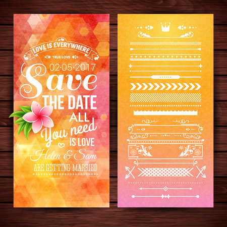 Orange hexagonal rectangular save the date stationery with pink flower, extra icons, frames and borders over wooden background