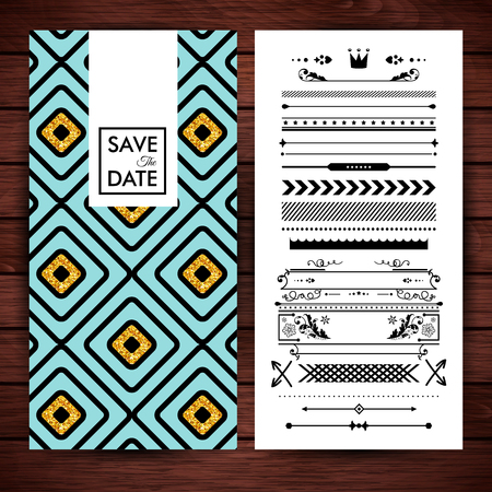 Yellow and blue square shaped save the date invitation with assorted replacement borders and shapes over wooden surface background Vector Illustration