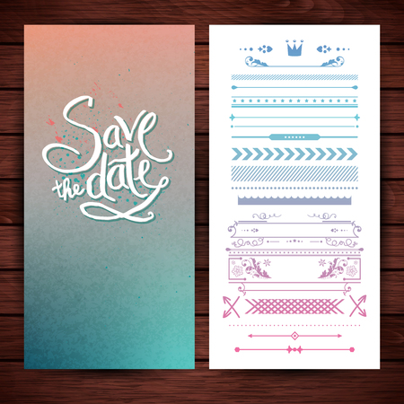 Rectangular save the date stationery with copy space, placeholder text and extra icons, frames and borders over wood paneling background