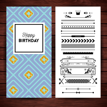 Happy birthday stationery with place holder text, borders and icons over simulated wooden background