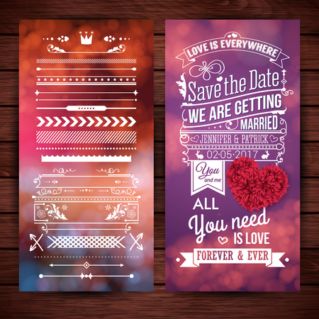 Rectangular we are getting married love theme stationery with extra icons, frames and borders over wooden background