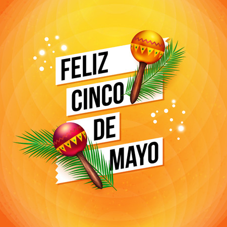 Colorful Mexican Fifth May greeting card design with bold text in banners and two musical rattles over a vibrant abstract orange background, square format