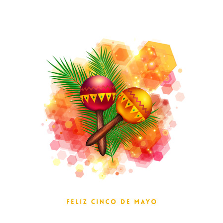 Bright vibrant Fifth May Mexican greeting card design with two red and orange musical rattles on green leaves over an abstract hexagonal pattern with yellow Mexican text below on white