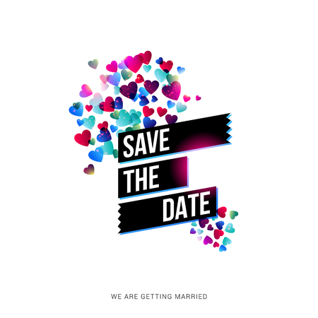 Save the Date wedding invitation card design with a cloud of bright colorful hearts in different sizes on either side of banner text over white, vector illustration