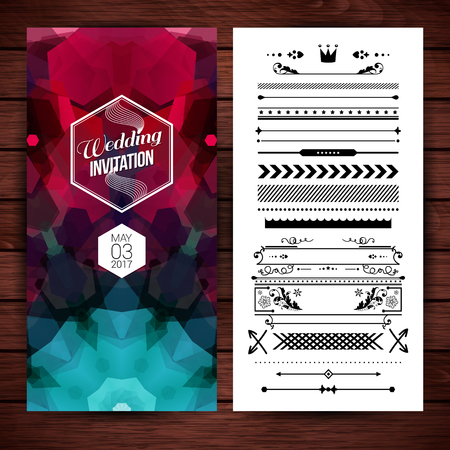 Rectangular wedding invitation template with date placeholder, obscured geometric patterns and optional border and frame object decorations