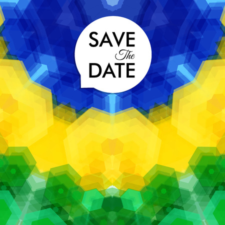 Colorful vibrant Save The Date wedding invitation or card with an overlaid abstract pattern of green, yellow and blue hexagons in a curved design with text in a speech bubble, vector illustration
