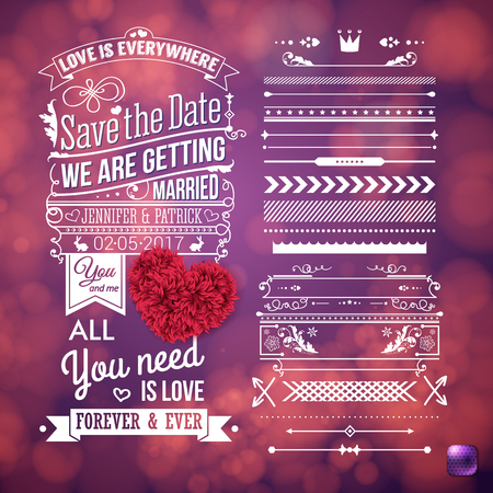 Love is everywhere we are getting married stationery with assorted frame and border objects