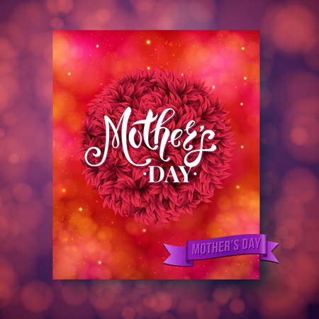 Red sparkling square mothers day greeting card design with little yarn fuzzy ball over pink and purple obscured background