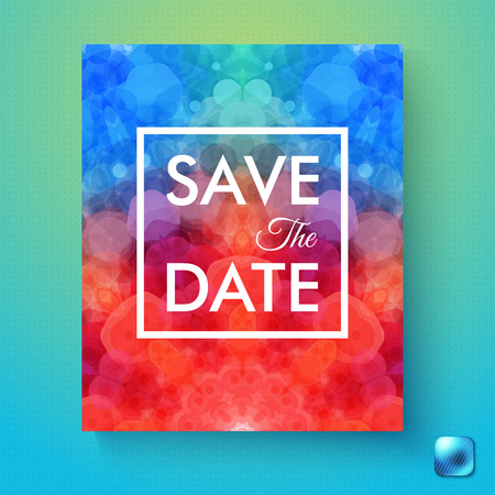 Colorful abstract Save the Date wedding invitation or event reminder with a vivid red to blue gradient hexagonal pattern over a gradient blue textured background with button