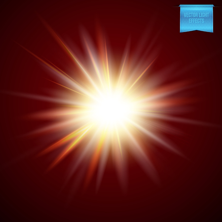 Bright fiery starburst light effect with a red glowing aura and radiating rays on a dark background, vector illustration Ilustracje wektorowe