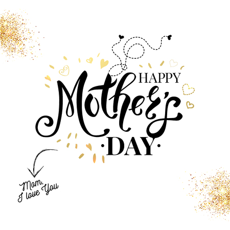 Sentimental loving black, white and gold Mothers Day card vector design with gold glitter accents and hearts with decorative black text over white