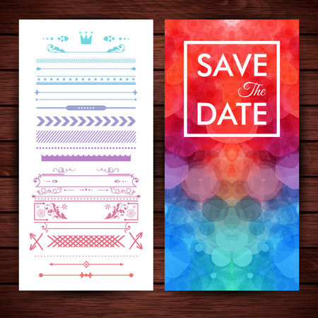 Rectangular save the date invitation template with obscured circular background optional border and frame object decorations over rustic wooden paneling