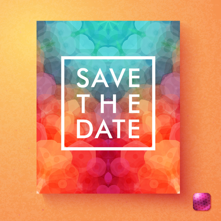 Bright dynamic vector Save The date wedding invitation with central text in a square white frame over an abstract overlay hexagon pattern on red, pink and blue on a textured orange background Ilustração
