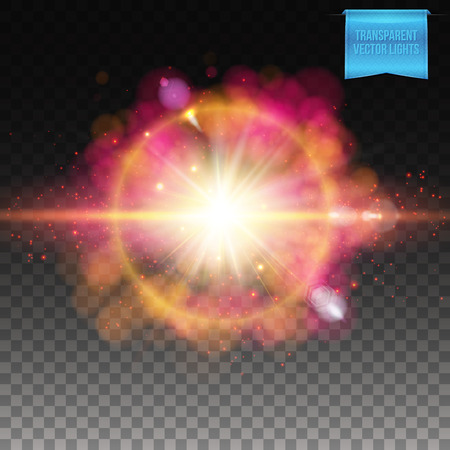 Elliptical yellow and pink science fiction supernova explosion burst effect over dark checkered background