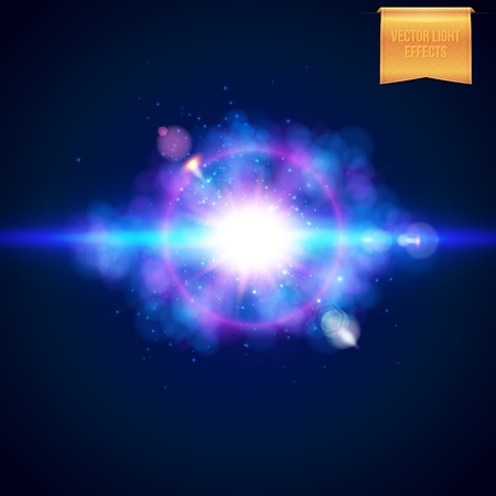 Bright realistic burst of bright blue light with a magenta halo, flare effect, sparkle and streaks over a dark background, vector illustration Illustration