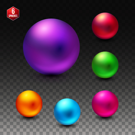Set of six colorful dimensional spheres with a shiny matte finish in vivid colors - red, purple, green, blue, pink, orange - for use as vector design elements Иллюстрация