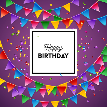Happy birthday greeting card background design template in purple with streamers and triangular flags