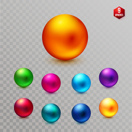Set of nine multicolored decorative dimensional spheres in different colors of the spectrum with a shiny metallic, matte finish or sheen on a transparent background for design elements