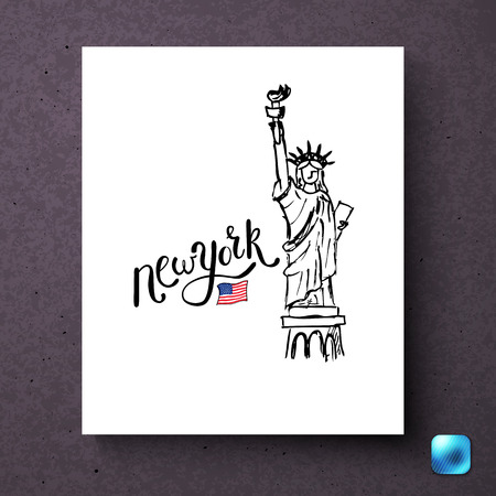 New York Statue of Liberty and American flag postcard template over dark background with light blue button in corner Standard-Bild - 113426385
