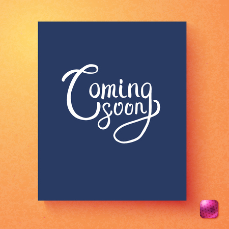 Rectangular blue and white coming soon announcement card template over orange background and purple square button
